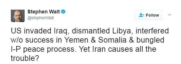 نظر استفن والت، استاد دانشگاه هاروارد درباره دستاورد آمریکا در خاورمیانه