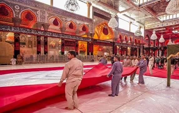 آماده کردن فرش قرمز برای عزای حسینی
