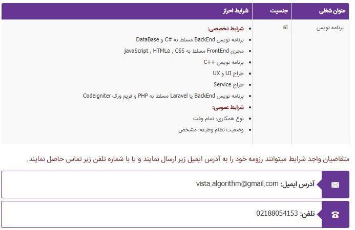 استخدام برنامه نویس در تهران