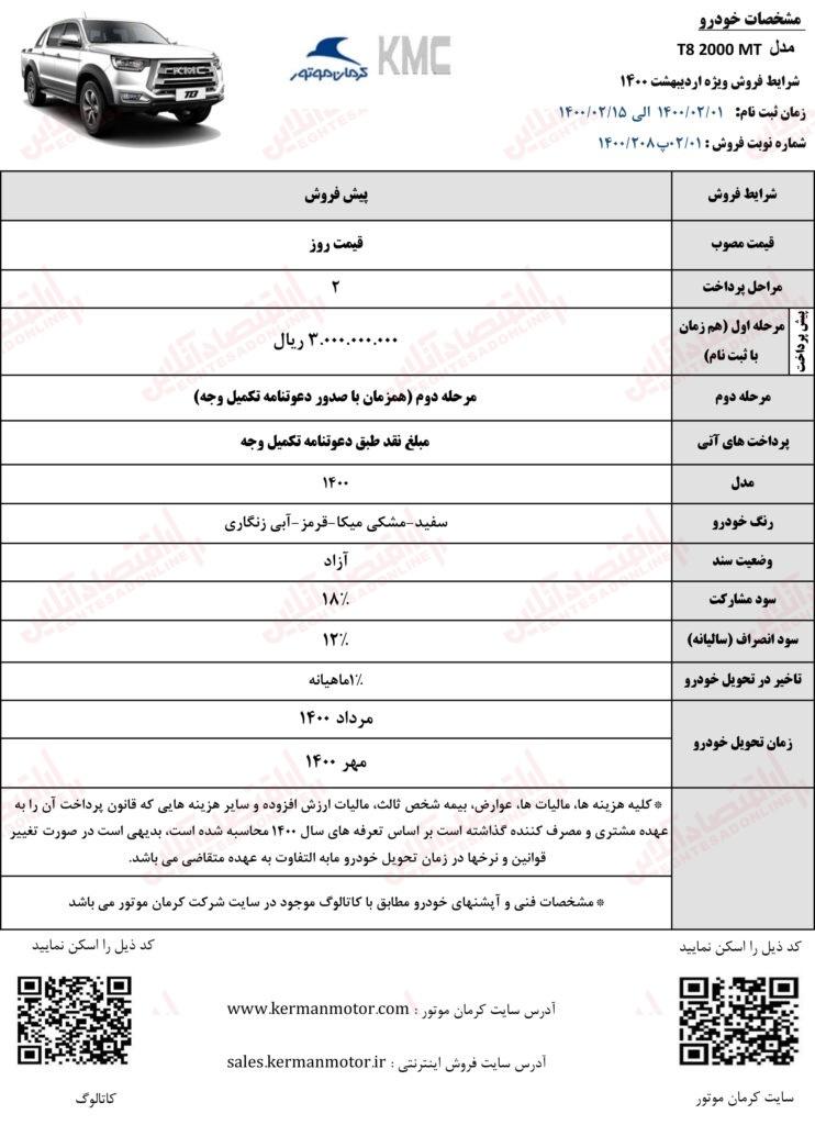 شرایط پیش فروش خودروهای کرمان موتور