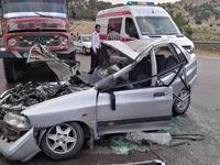 برخورد مرگبار یک کامیون با پراید +عکس