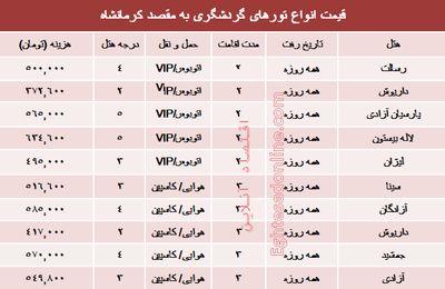 مظنه تورهای پاییزی کرمانشاه؟ +جدول