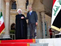 مراسم استقبال رسمی از روحانی در قصر السلام بغداد
