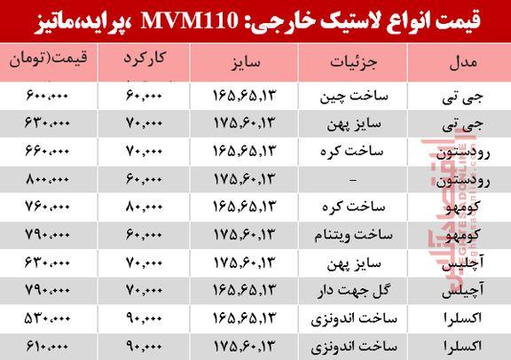 قیمت انواع لاستیک خارجی، پراید ، ماتیز و mvm در بازار؟ +جدول