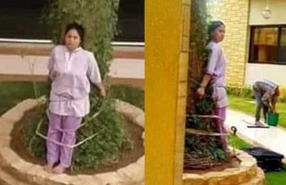 خانواده سعودی خدمتکار فیلیپینی خود را به درخت بست! +عکس
