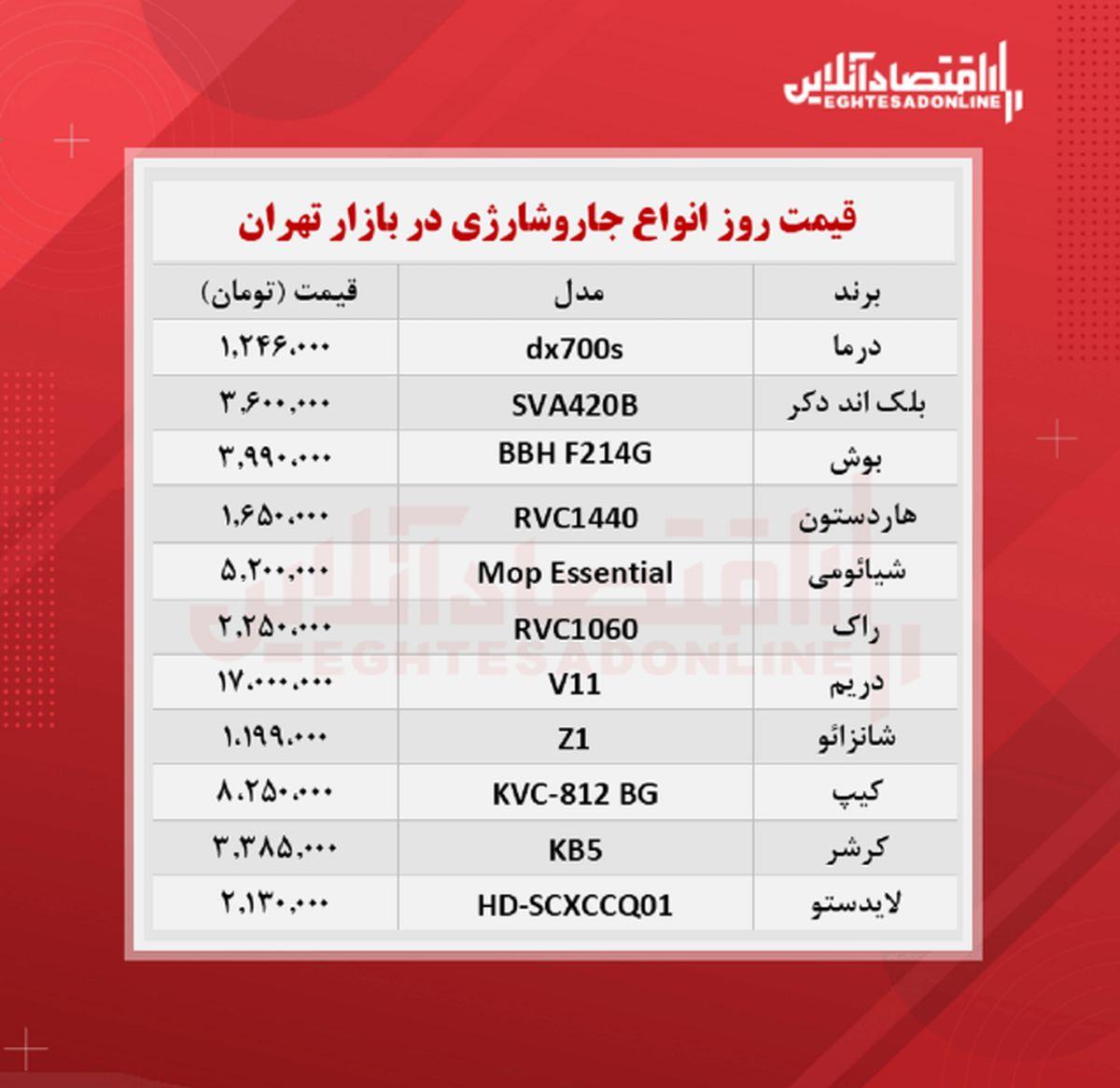 قیمت جدید انواع جارو شارژی (۲۲ مهر ماه)