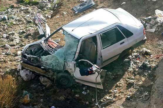 سقوط پراید به دره در محور چالوس