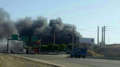 آتش سوزی در کارخانه ایران خودرو تبریز +عکس