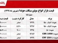 قیمت انواع موتورسیکلت هوندا +جدول