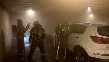حبس ساکنان ساختمان میان دود و آتش اسپورتیج + تصاویر