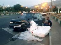 تصادف پراید با تشک خواب در تهران! +عکس