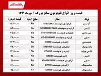 قیمت جدید تلویزیونهای سایز بزرگ +جدول