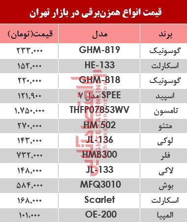نرخ انواع همزن برقی در بازار تهران؟ +جدول