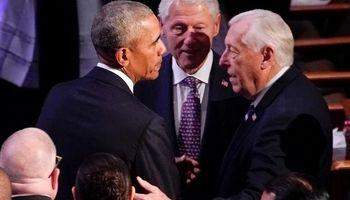 اوباما و کلینتونها در یک مراسم ختم +تصاویر
