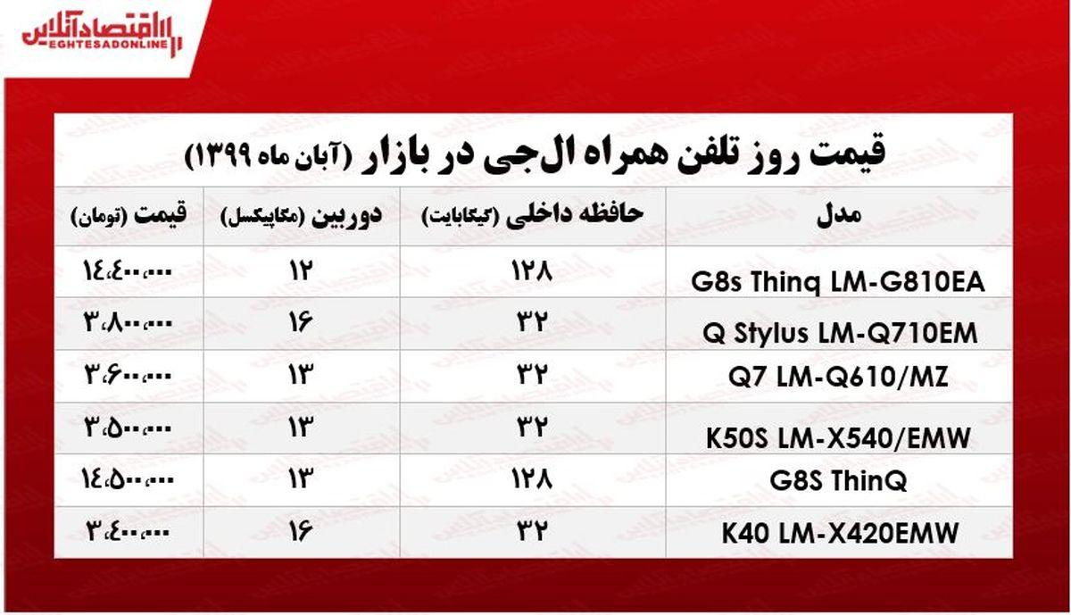 قیمت انواع موبایل ال جی در بازار +جدول