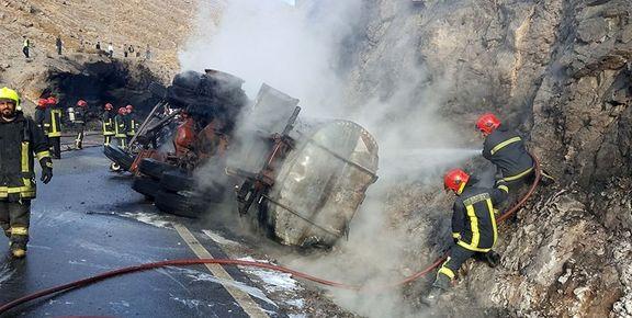 یک کشته در آتشسوزی تانکر سوخت در جاده مشهد به کلات