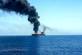 آتش سوزی یک نفتکش خارجی در دریای عمان