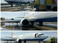 سانحه ترکیدگی لاستیک هواپیمای بویینگ در فرودگاه اردبیل +عکس
