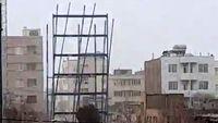 سقوط اسکلت فلزی ساختمان در حال ساخت +فیلم