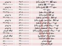 قیمت انواع خودروهای سایپا در بازار تهران + جدول