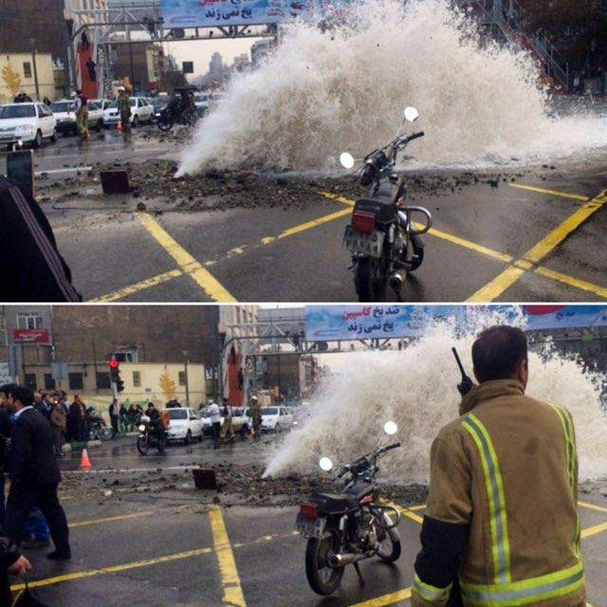 آغاز عملیات بهبود میدان توحید بعد از ترکیدگی لوله آب