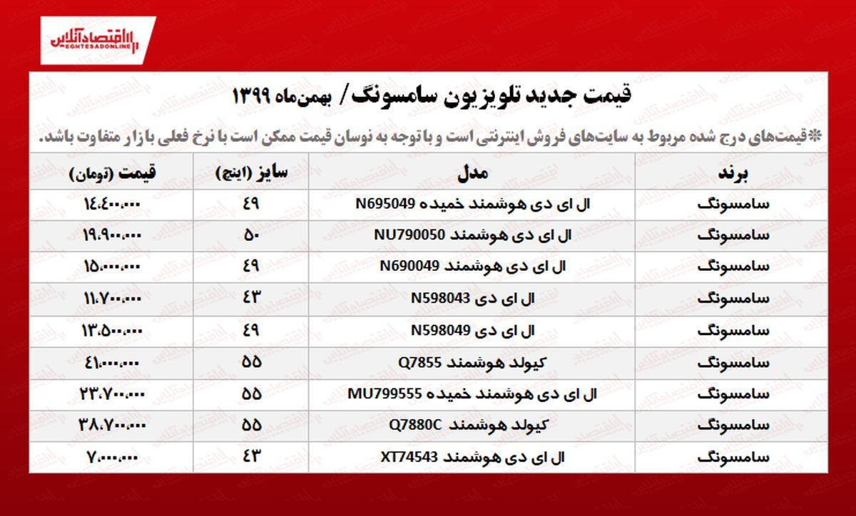 قیمت تلویزیون سامسونگ (۱۳۹۹/۱۱/۸)