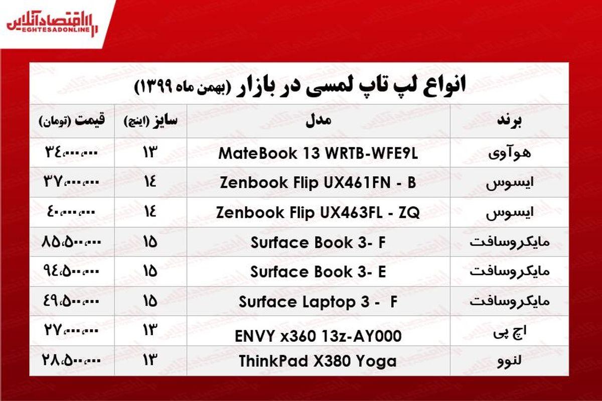 قیمت روز انواع لپ تاپ لمسی/ ۲بهمن ۹۹