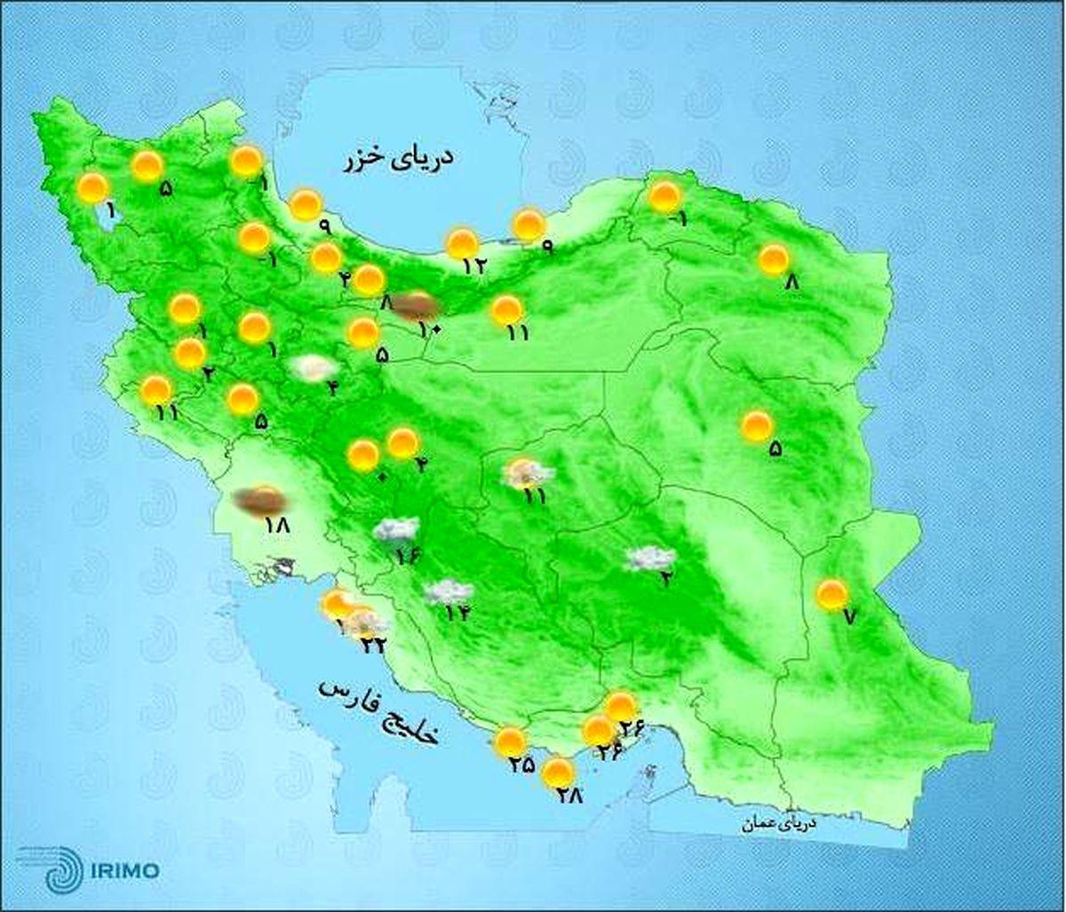 پیش بینی وزش باد در آسمان تهران