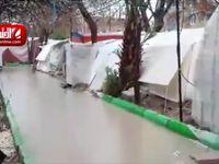 باران در کرمانشاه و وضعیت چادر زلزله زدگان +فیلم