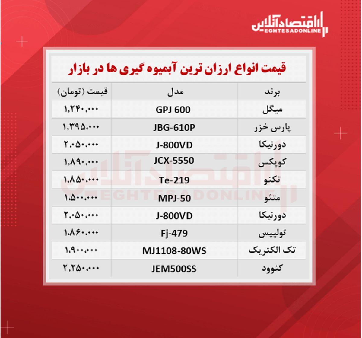 قیمت ارزان ترین مدل های آبمیوه گیری (شهریور۱۴۰۰)