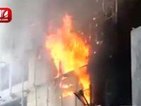لحظات اولیه آتشسوزی هتل روتانا مشهد +فیلم