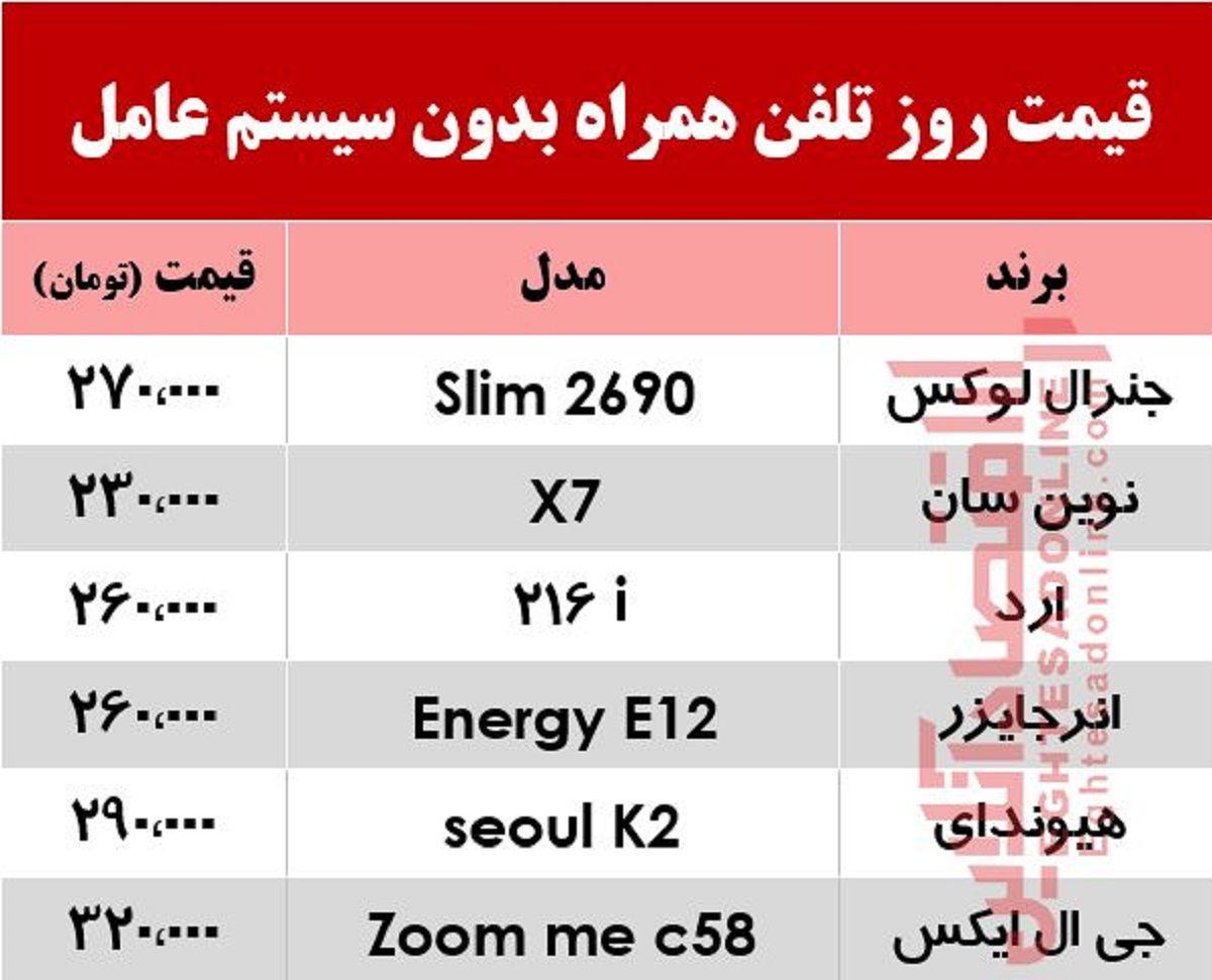 قیمت روز انواع موبایل بدون سیستم عامل +جدول