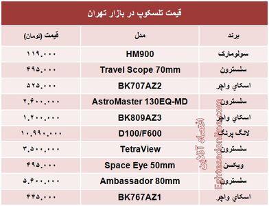 قیمت انواع تلسکوپ؟ +جدول