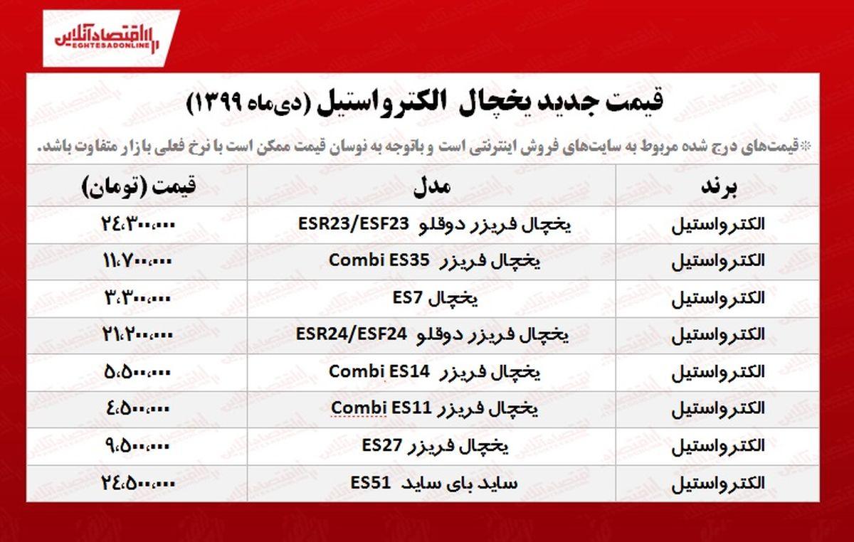 قیمت یخچال فریزر الکترواستیل +جدول