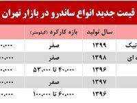 قیمت جدید انواع ساندرو در بازار تهران +جدول