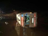 یک کشته در واژگونی آمبولانس در فارس +عکس