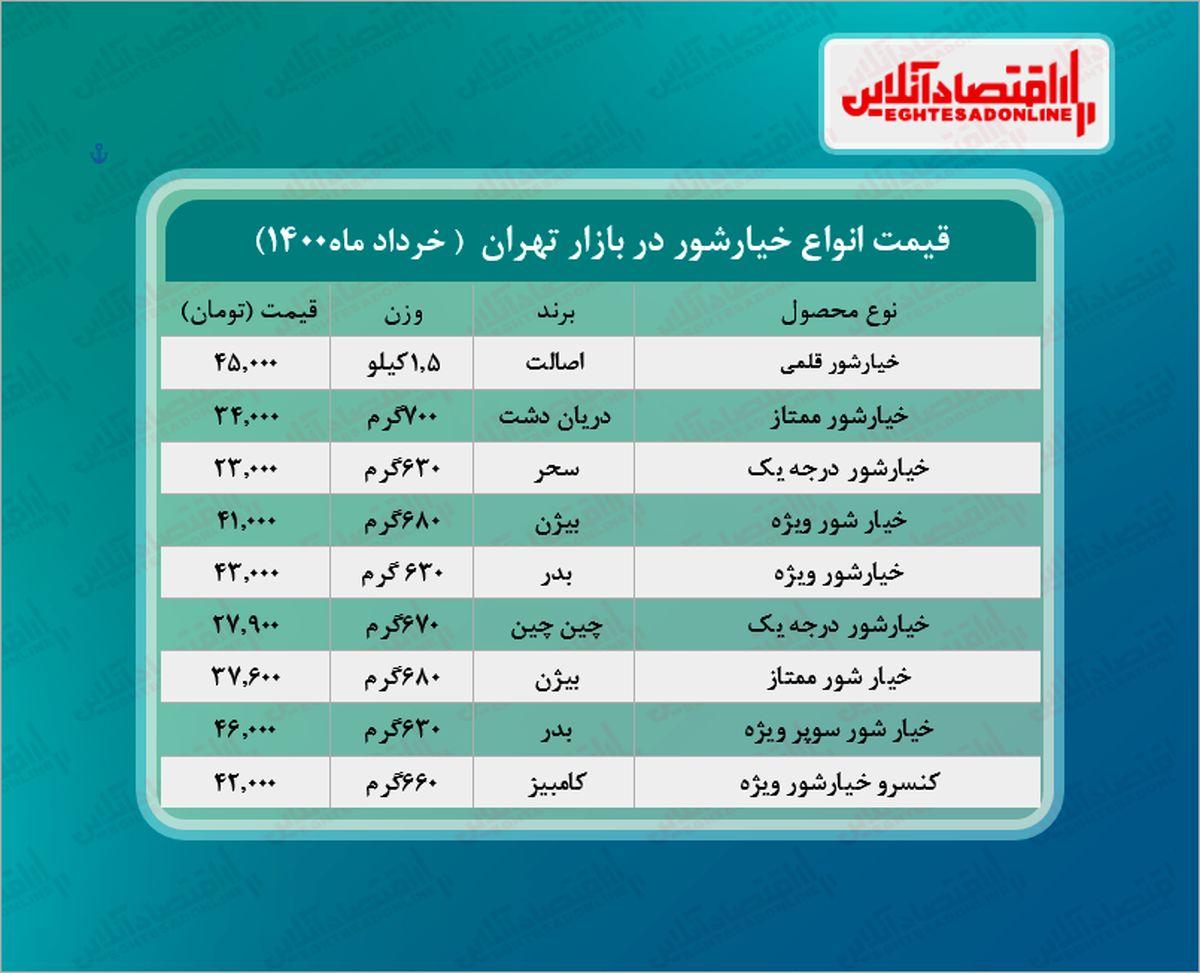 قیمت جدید خیارشور در بازار (خرداد۱۴۰۰) + جدول