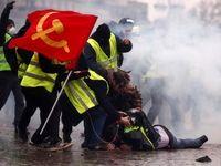 پرچم شوروی سر از تظاهرات جلیقهزردها درآورد +عکس