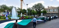 پرچم ۲۰۰متری فلسطین در تبریز +تصاویر