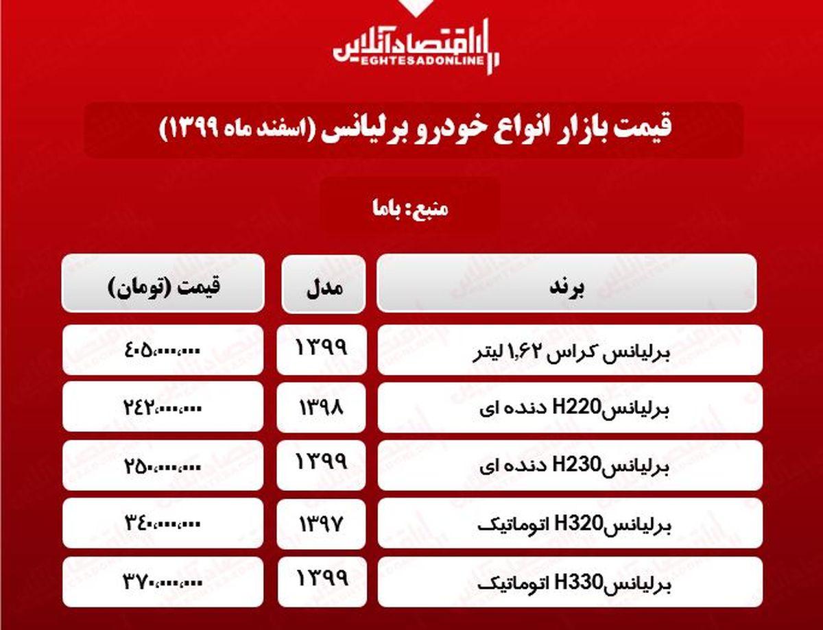 قیمت خودرو برلیانس در بازار تهران +جدول