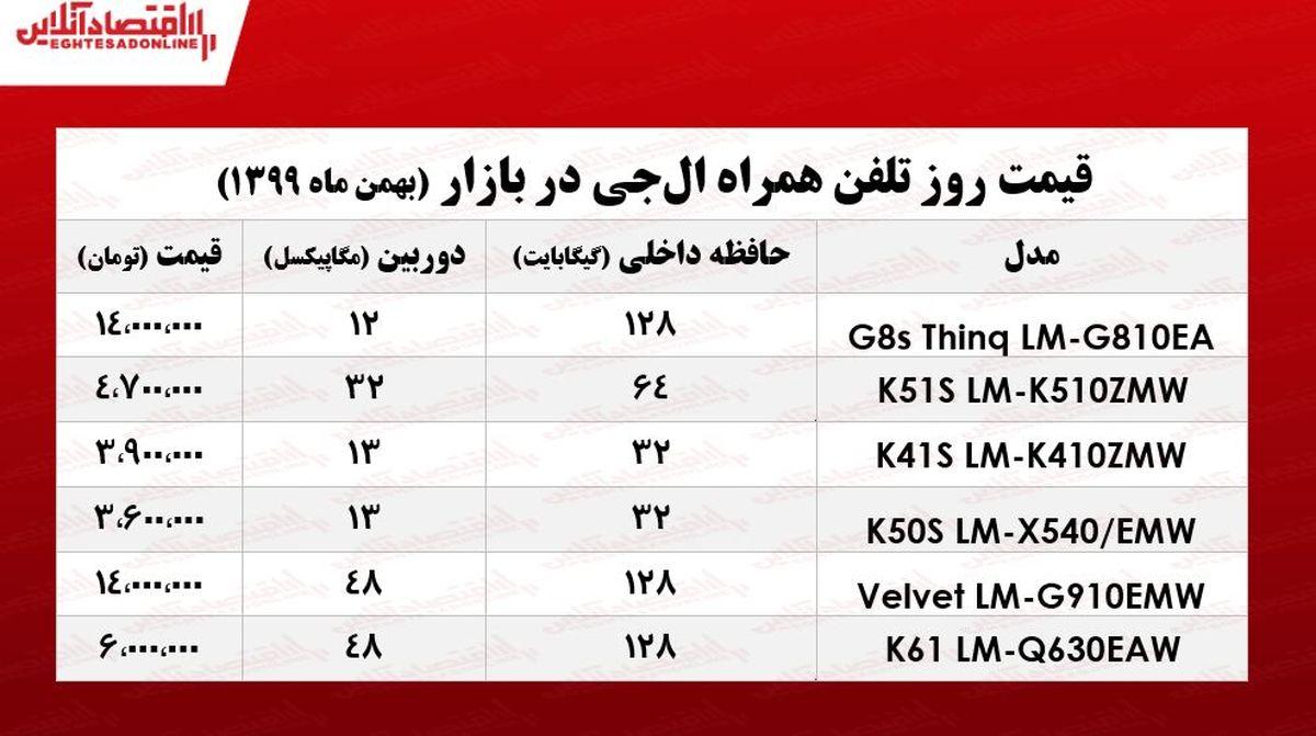 قیمت گوشی ال جی در بازار/ ۲۵بهمن ۹۹