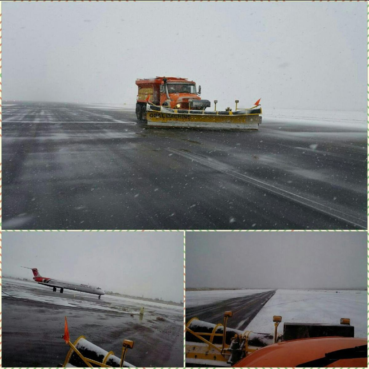با وجود بارش برف سنگین، باند پرواز فرودگاه تبریز عملیاتی شد