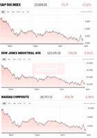 ریزش بیشاز  ۲درصدی بازارهای سهام آمریکا در آخرین روز معاملاتی هفته