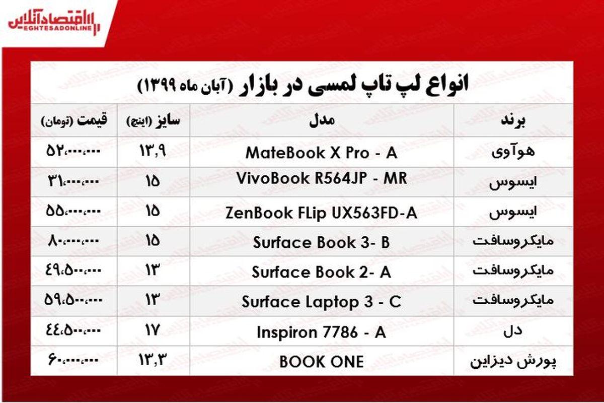 انواع لپ تاپ لمسی چند؟ +جدول