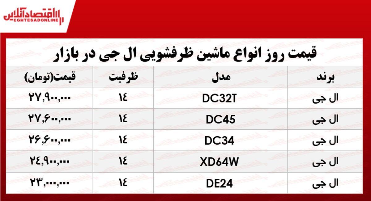 انواع ماشین ظرفشویی ال جی در بازار؟ +جدول