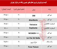 پرفروش ترین انواع عطر جیبی زنانه چند؟ +جدول
