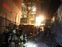 نجات ۱۰۰ کارگر ساختمانی از آتشسوزی خیابان فرشته +تصاویر