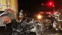 ۴۰۵ زیر کامیون لِه شد، ۳نفر کشته شدند +تصاویر