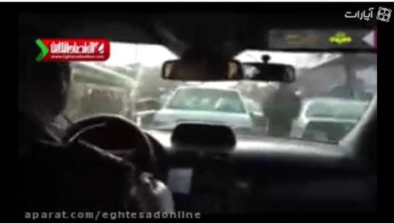 تعقیب و گریز سارق خودرو درمیدان شوش +فیلم