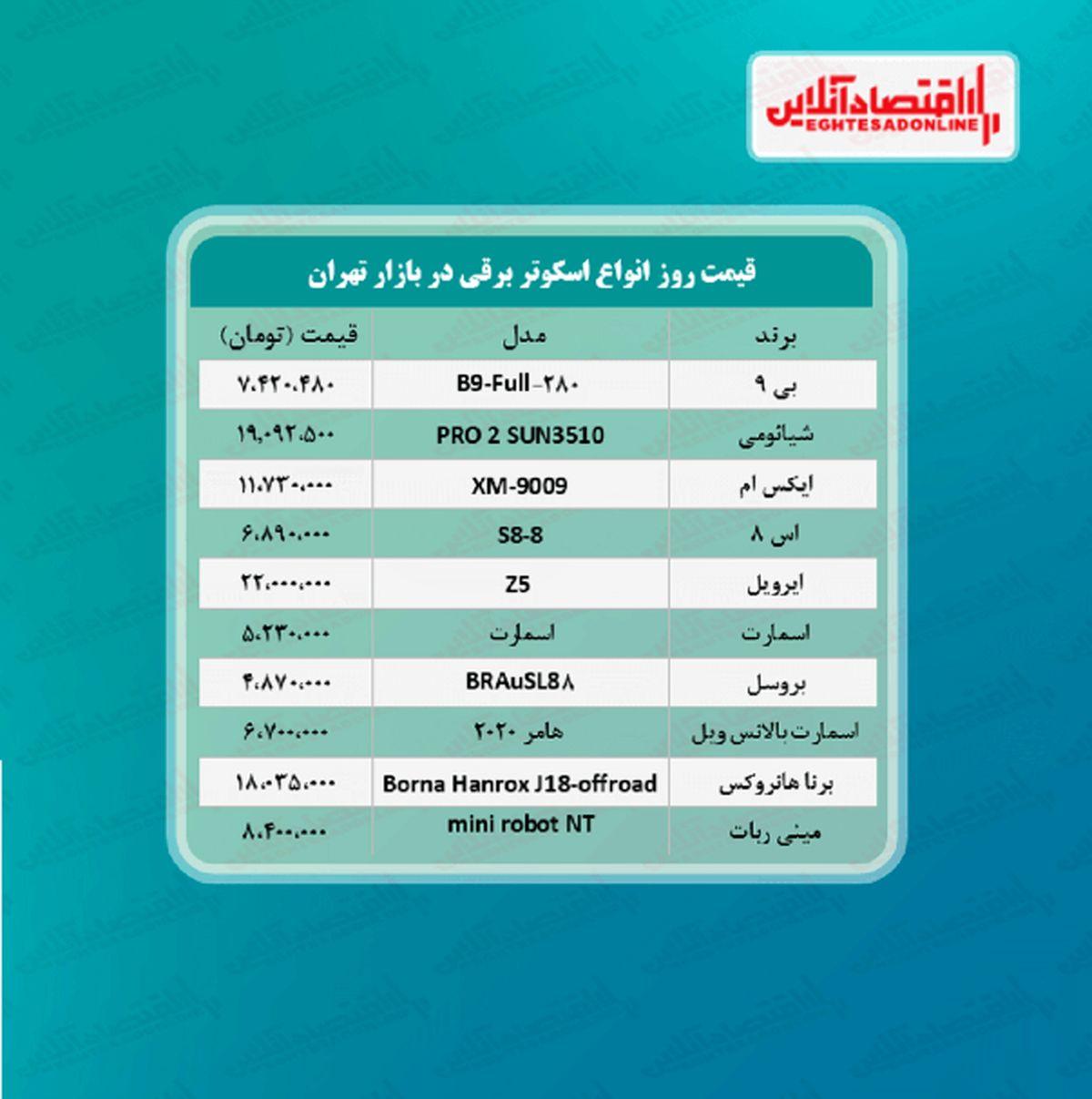 قیمت جدید اسکوتر برقی +جدول